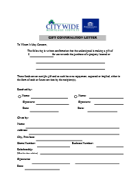 City wide mortgage services downloadable forms gift confirmation letter written confirmation that you are receiving a cash gift for use towards the purchase of a property spiritdancerdesigns Gallery